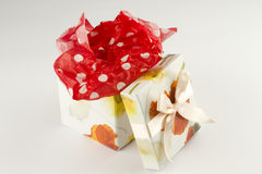 Wrapped gift box present. Gift voucher boxe to give as present Royalty Free Stock Images