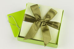 Wrapped gift box present. Gift voucher boxe to give as present Stock Photos