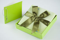 Wrapped gift box present. Gift voucher box to give as present Stock Image