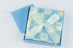 Wrapped gift box present. Gift voucher box to give as present Stock Photography