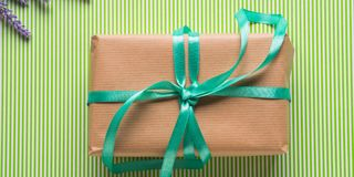Wrapped gift box. Spring holidays present banner. Wrapped gift box with green ribbon. Spring holidays easter present. Top view banner Stock Photos