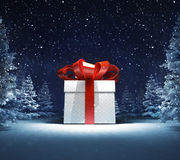 Wrapped gift box in winter snowy woods Royalty Free Stock Image