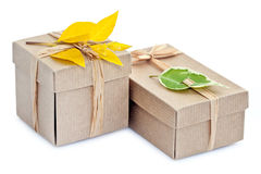 Wrapped Gift Boxes. Isolated on white Stock Image