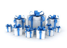 Wrapped Gift Boxes. Blue ribbon on white background Stock Images
