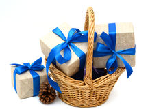 Wrapped Gift Boxes in Different Colors Box. Multiple Gift Boxes in the basket Royalty Free Stock Images