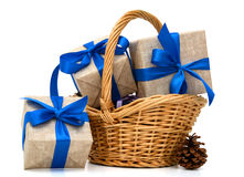 Wrapped Gift Boxes in Different Colors Box. Multiple Gift Boxes in the basket Stock Photography