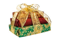 Wrapped Gift Boxes With Gold Ribbon And Bow Stock Photos