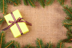 Wrapped gift for Christmas or other celebration, copy space for text Royalty Free Stock Images