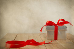 Wrapped Gift with Leftover Ribbon Stock Images