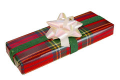 Wrapped Gift With Tartan Paper Royalty Free Stock Photos