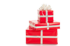 Wrapped gifts with a bow on a white background Royalty Free Stock Image