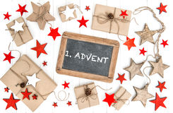 Wrapped gifts christmas decoration chalkboard vintage Advent Stock Images