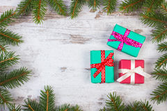 Wrapped gifts for Christmas or other celebration, copy space for text Royalty Free Stock Images