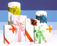 Wrapped Gifts with Colorful Ribbons Royalty Free Stock Photos