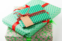 Wrapped gifts with tag Stock Photos