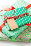 Wrapped gifts with tag Royalty Free Stock Photo