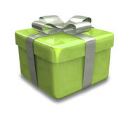 Wrapped gold green gift 3D Royalty Free Stock Photo