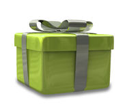 Wrapped gold green gift 3D v3 Royalty Free Stock Image