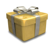 Wrapped gold yellow gift 3D Stock Image