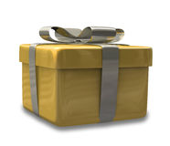 Wrapped gold yellow gift 3D v2 Royalty Free Stock Photos