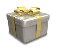 Wrapped gold yellow gift 3D v3 Royalty Free Stock Image