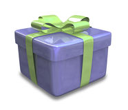 Wrapped green blue gift 3D Royalty Free Stock Image