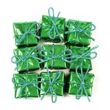 Wrapped green presents Stock Images