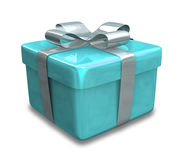 Wrapped light blue gift 3D Royalty Free Stock Photography
