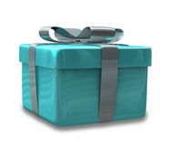Wrapped light blue gift 3D Stock Images