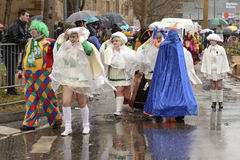 Wrapped masks and majorettes at Carnival parade, Stuttgart Stock Photography