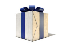 Wrapped Package With Bow. A cube shaped parcel box wrapped in brown paper and a bue ribbon and bow on an isolated white studio background stock image