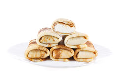 Wrapped pancakes with cottage cheese Royalty Free Stock Photography