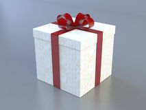 Wrapped present. A 3D render of a wrapped present with a red ribbon vector illustration