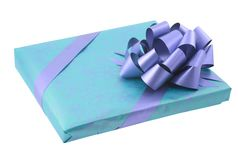 Wrapped present with bow Royalty Free Stock Image
