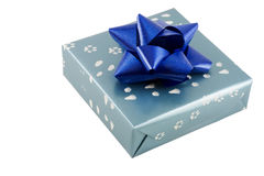 Wrapped present with bow stock photography