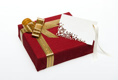 Wrapped present box with a card Royalty Free Stock Photo