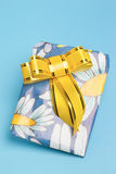 Wrapped present with golden bow Royalty Free Stock Photography