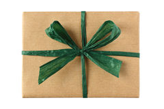 Wrapped present with green ribbon bow Stock Photo