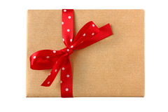 Wrapped present with red polka dot ribbon bow Royalty Free Stock Image