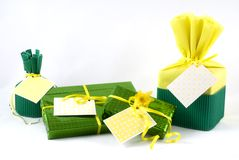 Wrapped presents Stock Photo