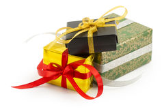 Wrapped presents with bows and ribbons Stock Image