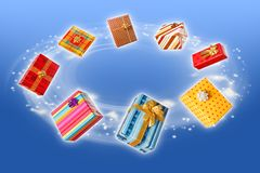 Wrapped presents rotating and flying around Stock Images