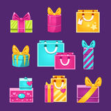 Wrapped Presents Set. Of Flat Simple Bright Color Design Vector Drawings Isolated On Dark Background Stock Photos