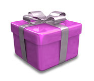Wrapped purple gift 3D Stock Photo