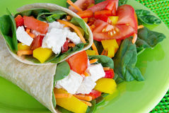 Wrapped Sandwich. Chicken wrapped sandwiches with a side salad. Whole wheat tortilla bread, carrot sticks, bell peppers, tomatoes, mayonnaise and spinach leaves Royalty Free Stock Photos