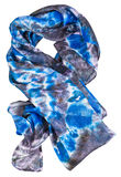 Wrapped silk scarf with abstract blue pattern Stock Photography