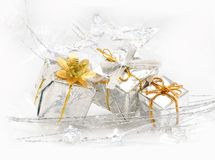 Wrapped silver gift boxes Royalty Free Stock Photo
