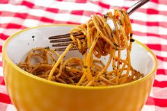 Wrapped spaghetti Stock Images