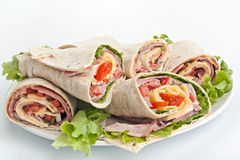 Wrapped Tortilla Rolls Stock Images