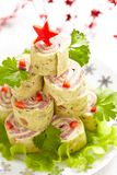 Wrapped tortilla sandwich  for Christmas Stock Photo